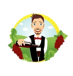 young smiling waiter pours red wine vector image