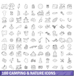 100 camping and nature icons set outline style vector image