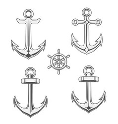Anchors and rudder in monochrome style vector