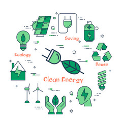 banner of clean energy - electrical plug with leaf vector image