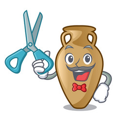 Barber amphora character cartoon style vector