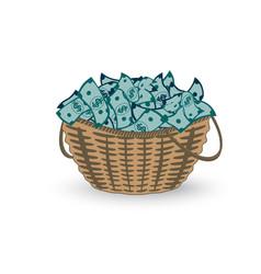 basket full money isolated on white vector image