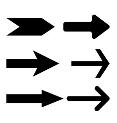 black straight arrows next flat icons vector image