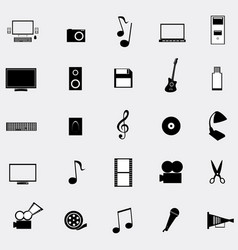 black universal web icons set on gray background vector image