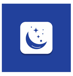 blue round button for moon night star weather vector image