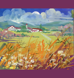 Bright field with houses and mountains under vector