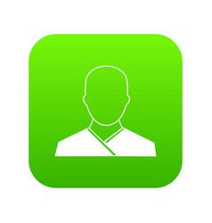 buddhist monk icon digital green vector image