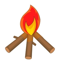 Burning bonfire icon cartoon style vector
