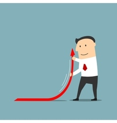 Businessman raising up arrow of financial graph vector