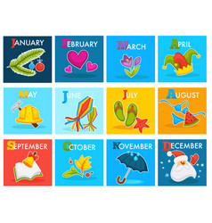 calendar cartoon design with seasonal holidays vector image
