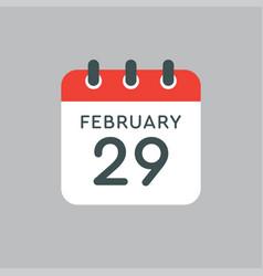 calendar day 29 february leap or intercalary year vector image