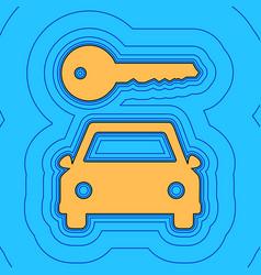 car key simplistic sign sand color icon vector image