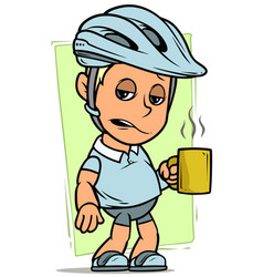 Cartoon cyclist boy character with cup of coffee vector