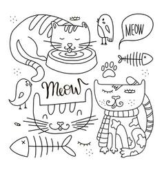 cats line doodle set 1 vector image