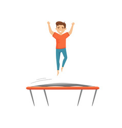 cheerful teenage boy jumping on trampoline with vector image