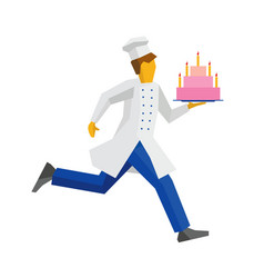 Chef in white hat runs with cake on a tray vector