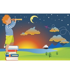Child imagination and reading vector image