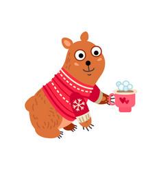 Christmas bear icon santa vector