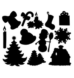 christmas silhouette collection 02 vector image
