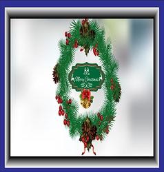 Christmas wreath card vector image