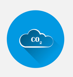 Co2 icon on blue background flat image with long vector