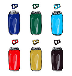 collection of beer cans in different colours blue vector image