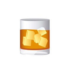 Colorful realistic whiskey drink cocktail glass vector