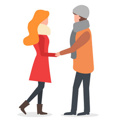 couple holding hands in winter time love vector image