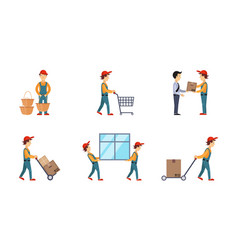 courier or delivery men set workers delivering vector image