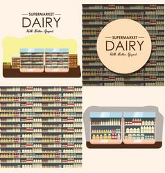 dairy department milk shelf with fresh healthy vector image