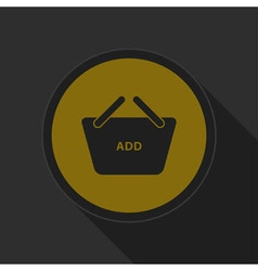 Dark gray and yellow icon - shopping basket add vector