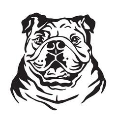 Decorative portrait dog bulldog vector