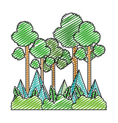 Doodle nature tall trees and mountains landscape vector