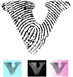 Fingerprint Alphabet Letter V vector