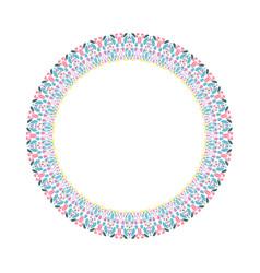 Floral round frame - circular abstract design vector