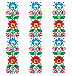 floral seamless folk art pattern - polish vector image