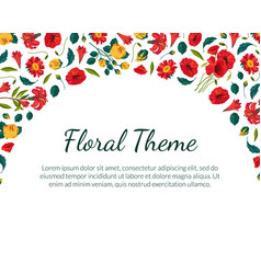 floral theme banner template with beautiful vector image