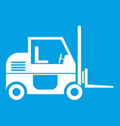 Forklift icon white vector