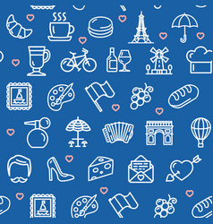 france travel seamless pattern background on a vector image
