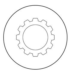 gear the black color icon in circle or round vector image