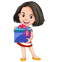 Girl carrying box of gift vector