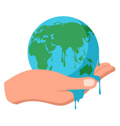 Hand holding melting earth vector