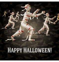 Happy halloween greeting card with walking mummies vector image