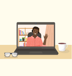 Happy man having conference video call vector