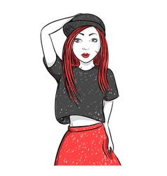 hip hop dancing girl pretty young urban rap girl vector image