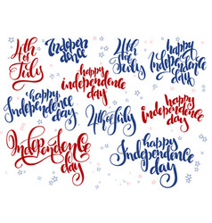 independence day hand lettering set of vector image