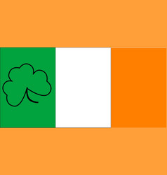 irish flag with shamrock outline vector image