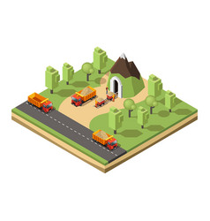 Isometric coal extraction concept vector
