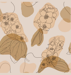 jasmine flowers and leaves vintage seamless vector image