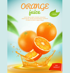 juice placard advertizing banner with orange vector image